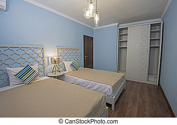 Interior of a luxury apartment bedroom