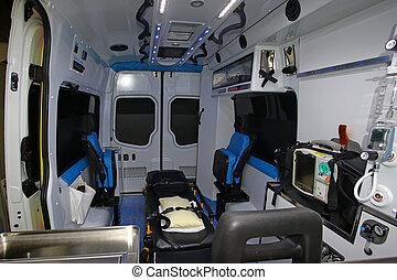 Interior of a modern ambulance