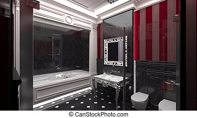 Interior of a modern bathroom ( 3d