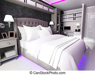 interior of a modern bedroom, made in dark colors