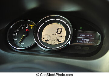 interior of a modern car. Black dashboard
