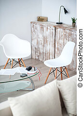 Interior of a modern flat - Cozy corner. View of white ...