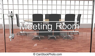 Interior of a modern office meeting room outside crystal door view