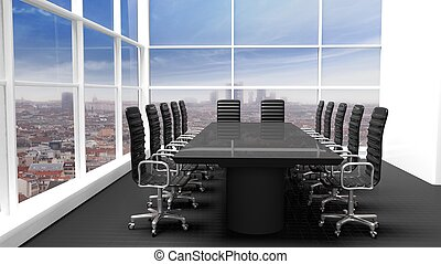 Interior of a modern office meeting room with window and cityscape view