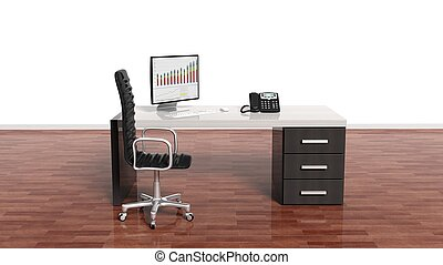 Interior of a modern office with a blank white wall