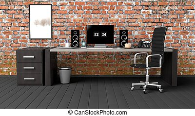 Interior of a modern office with a grunge brick wall