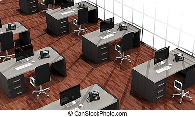 Interior of a modern office with multiple working spaces