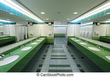 Interior of a modern public restroom