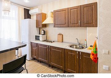 Interior of a modern spacious inexpensive kitchen