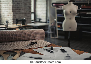 Interior of a modern tailor studio