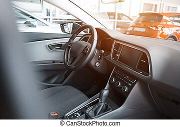 Interior of a new car in a dealership
