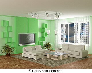Interior of a room of rest. 3D image