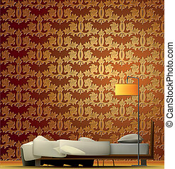 Interior of a room with bed and golden wallpaper. Vector