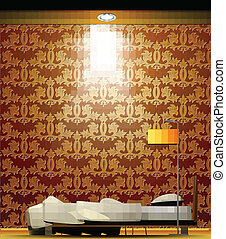 Interior of a room with bed, golden wallpaper. Vector
