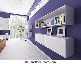 Interior of a room with bookshelves