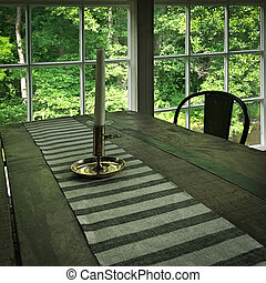 Interior of a rustic house with wooden table