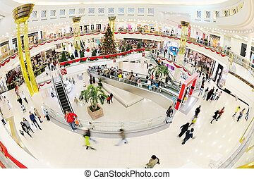 Interior of a shopping mall - crowd shopper people in...