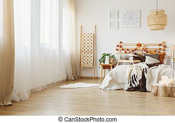 Interior of a spacious bedroom