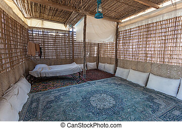 Interior of a traditional bedouin tent in the Middle East, United Arab Emirates