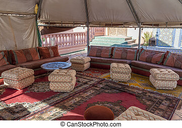 Interior of a traditional berber tent in Morocco