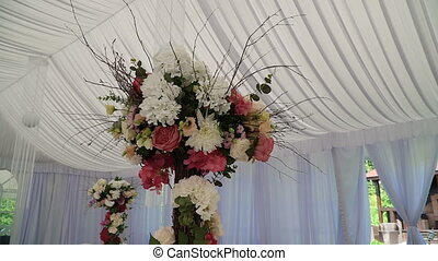 Interior of a wedding hall decoration ready for...
