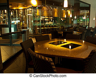 wine bar - interior of a wine bar before opening time