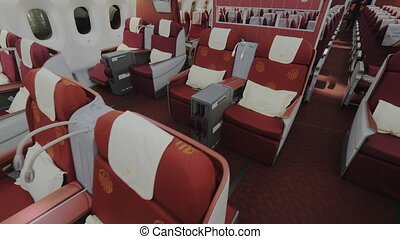 Interior of airplane business class - Inside view of...