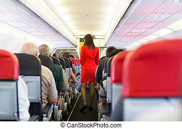 Interior of airplane.