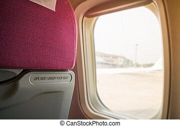 Interior Of Airplane Seat With Window Light