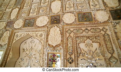 Interior of Amber Fort - Ornate interior of Amber Fort in...
