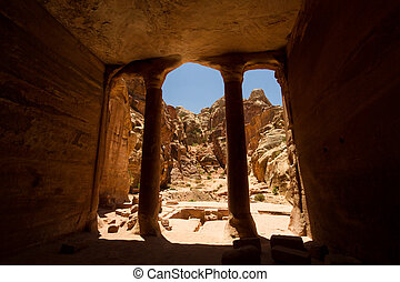 Petra, Jordan - Interior of an ancient building carved into...