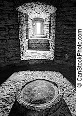 Interior of an ancient stone building