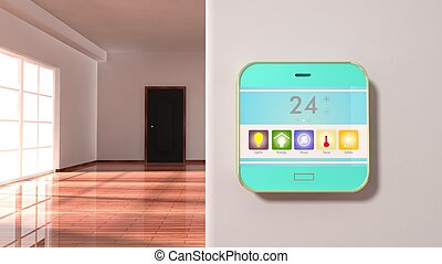 Interior of an apartment with smart home control device display on a wall