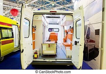 Interior of an empty ambulance car