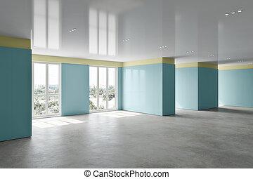Interior of an empty long hall, 3d rendering illustration