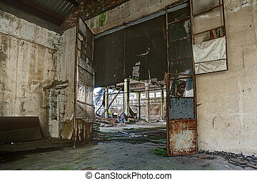 abandoned factory - interior of an old abandoned factory...