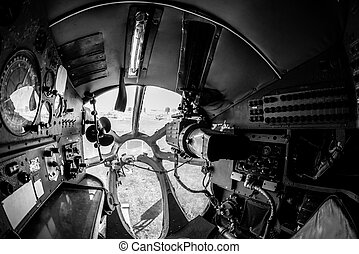 Interior of an old aircraft with control panel