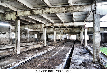 Interior of an old industrial abandoned building