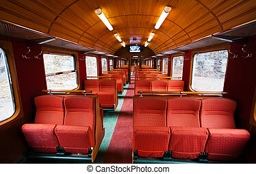 interior of an old wagon