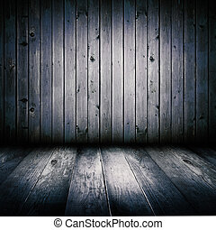 Interior of an old wooden shed, illuminated by the full...