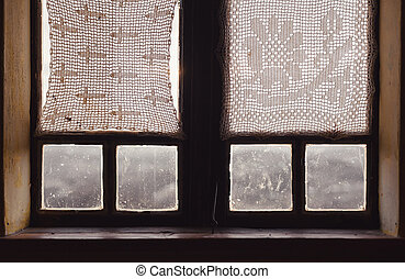 Interior of an Old Wooden Window