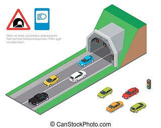 Interior of an urban walkway tunnel road. Tunnel car driving. Isometric Tunnel road