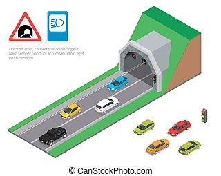 Interior of an urban walkway tunnel road. Tunnel car...