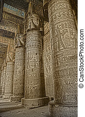 Interior of ancient egypt temple in Dendera - Interior of ...