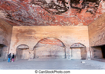 interior of ancient Urn Tomb hall in Petra
