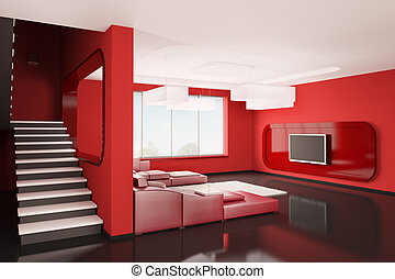 Interior of apartment 3d - Interior of apartment with stairs...