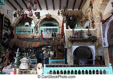 Interior of arabic coffee bar, Sousse, Tunisia