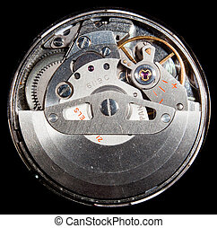 Interior of automatic wrist watch