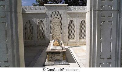 Interior of Babur's tomb at in the Gardens of Babur. -...