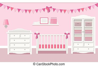Interior of baby room. Vector illustration.